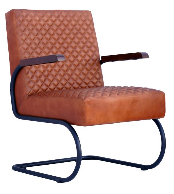 Four Corners Full Leather and Metal Chair CH10