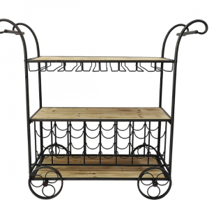 Four Corners Metal and Wood Drinks Trolley