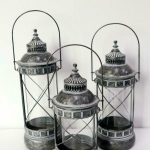 Four Corners Metal and Glass Lanterns Set of 3