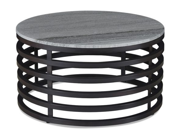 Four Corners Solid Marble Coffee Table with a Metal Base