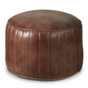 Four Corners Leather pouffe round P08