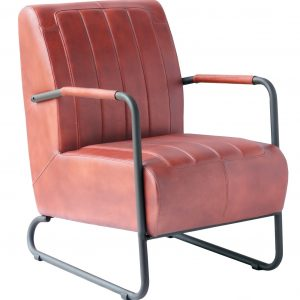 Four Corners Full Leather and Metal Frame Chair