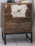 Four Corners Wood and Leather Pedestal