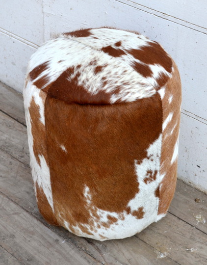 Four Corners Hair on hide leather stool P10