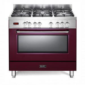 Elba 90cm Excellence Gas Electric Cooker Burgundy